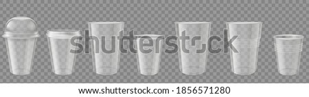 Plastic cup. Realistic transparent disposable cups with cap. Empty drink containers mockup. Packages for coffee or cold beverage vector set. Disposable clean cup with lid or cap illustration