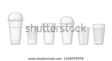 Plastic cups. Realistic transparent coffee juice and beverage containers with lid sample mockup. Vector set design templates isolated on white