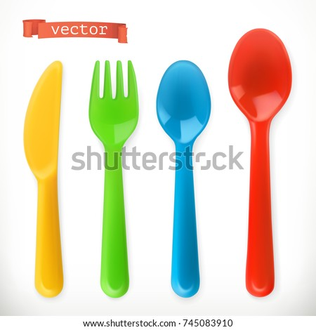 Plastic cutlery. Kids food. 3d realistic vector icon set.