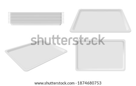 Plastic empty white tray set, blank takeout. Party plastic serving tray for home, caterers, office parties, banquet events. Vector realistic style illustration