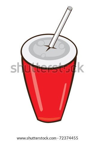 Plastic fastfood cup. Vector illustration on white background