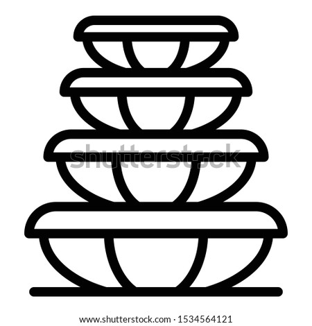 Plastic food containers icon. Outline plastic food containers vector icon for web design isolated on white background