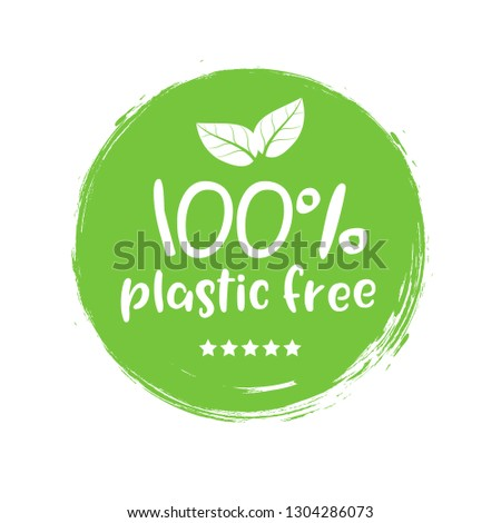 Plastic free green icon badge. Bpa plastic free chemical mark zero or 100 percent clean.
