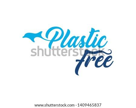 Plastic free logo with stylized dolphin