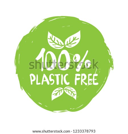 Plastic free product sign for labels, stickers