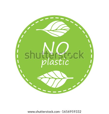 Plastic free product sign for labels, stickers and other