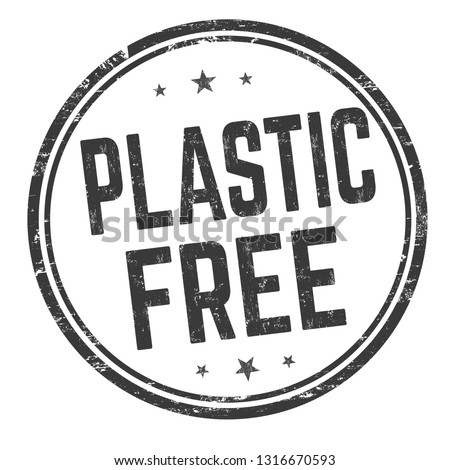 Plastic free sign or stamp on white background, vector illustration