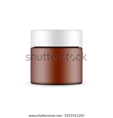 Plastic Frosted Amber Cosmetic Jar Mockup Isolated on White Background. Vector Illustration Foto stock ©
