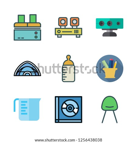 plastic icon set. vector set about pencil case, tent, feeding bottle and measuring cup icons set.