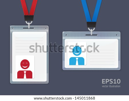 Plastic ID Badges. Vector illustration.