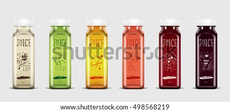 Plastic juice bottle brand concept isolated on light gray background. Packaging vector