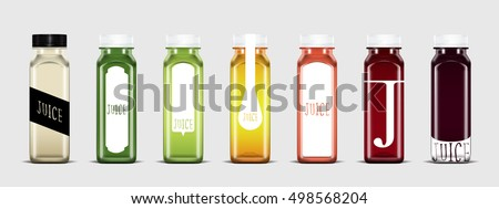 Plastic juice bottle with label template ready for you design isolated on light gray background. Packaging vector