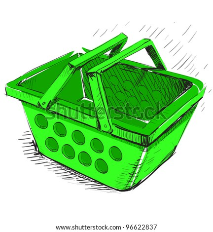 Plastic market shopping basket in green color.Bright hand drawing cartoon sketch illustration in childish doodle style