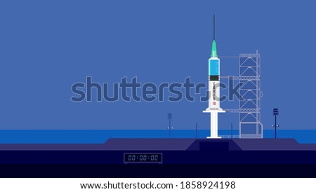 Plastic medical injection syringe with liquid drug. Vaccine ready to launch. Vaccination equipment with needle. Drug injector. Metaphor of a rocket. Immunization vaccine is ready. Launchpad vector.