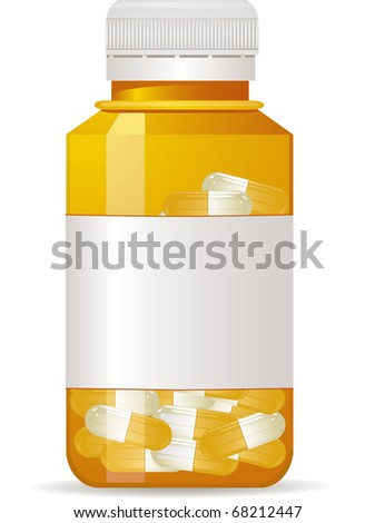 Plastic medicine bottle with sealed lid and label full of pills