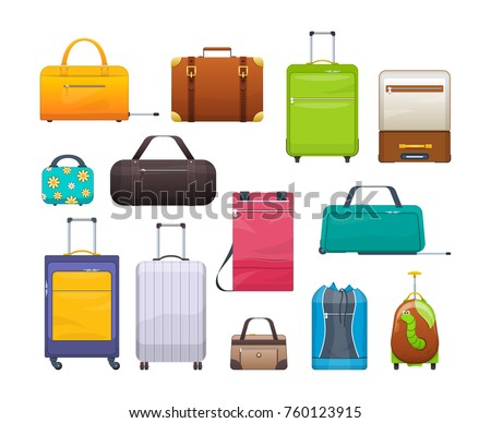 Plastic, metal, leather suitcases and bags. Travel suitcase, journey package, business travel bag, trip luggage. Collection different bags, heap of baggage, suitcases, luggage Vector illustration