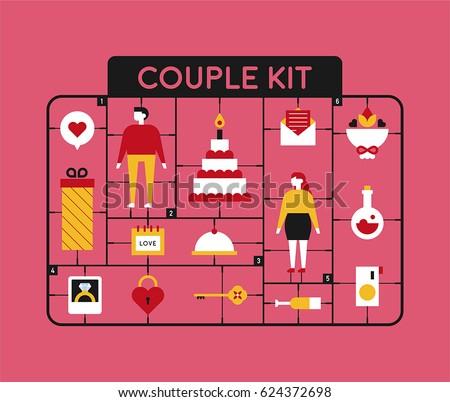 plastic model kit toy couple figure object vector illustration flat design