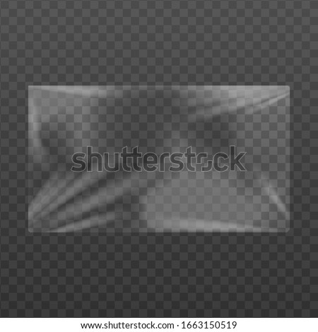 Plastic or cellophane membrane texture effect template, realistic vector illustration isolated on a white background. Products packaging cling film mockup. stock photo