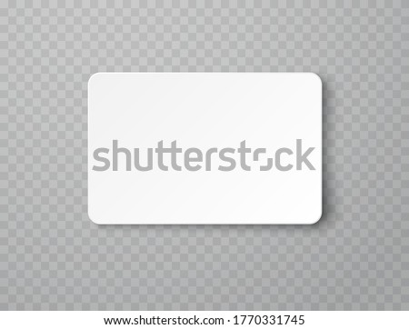 Plastic or paper white business card isolated on transparent background. Vector blank sticker, sheet, label, banner with rounded corners template.