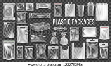 Plastic Packages Transparent Wrap Set Vector. Empty Food Product Polyethylene Package Mock Up Template. Realistic Nylon Doy Pack Packaging Branding Design Illustration