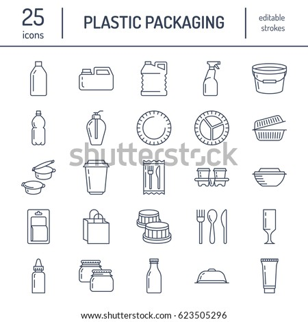 Plastic packaging, disposable tableware line icons. Product container, bottle, packet, canister, plates and cutlery. Packs thin linear signs for shop or synthetic material goods production.
