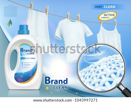 Plastic packaging with laundry detergent. Mock-up package with label design. Washing white clothes hanging on the rope. Stock vector illustration.