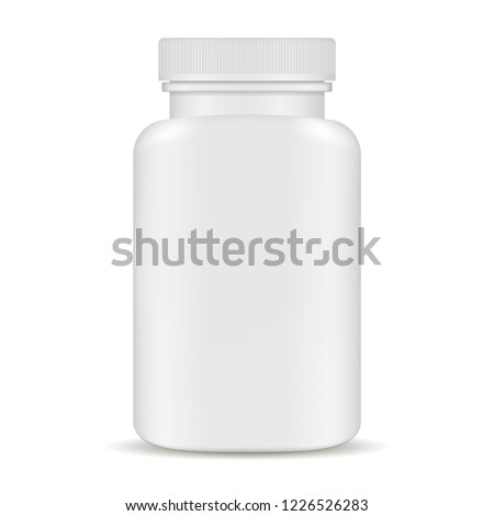 Plastic pill bottles. Black and white 3d Vector illustration. Mockup Template of medicine package for pills, capsule, drugs. Sports and health life supplements.