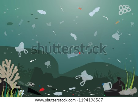 plastic pollution illustration trash under the sea Template with different kinds of garbage, bags, wastes, plastic straws and plastic utensils in the ocean