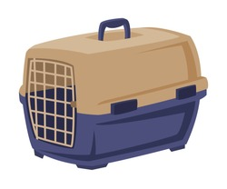 Plastic Portable Cage for Pet Animals, Carrier for Dogs and Cats Cartoon Style Vector Illustration on White Background