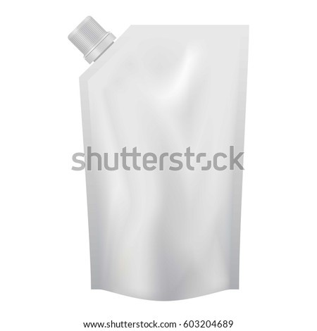 Shutterstock Plastic pouch with batcher mockup. Realistic illustration of plastic pouch with batcher vector mockup for web