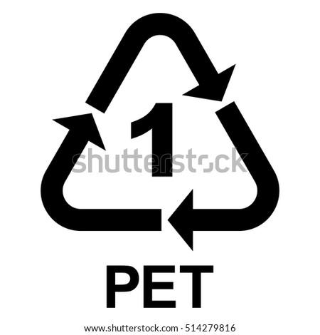 Plastic recycle symbol PET 1, Plastic recycling code PET 1, vector illustration.