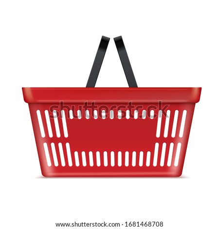 Plastic red basket supermarket and store container. Hypermarket product carry object. Vector grocery basket realistic illustration isolated on white background
