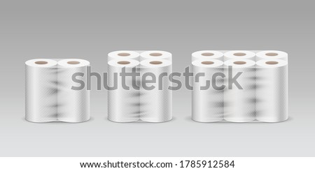Plastic roll tissue paper long roll three product, two rolls, four rolls, six rolls, collection on gray background template design, vector illustration