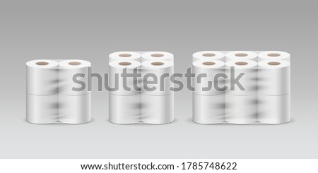 Plastic roll tissue paper three product, four rolls, eight rolls, twelve rolls, collection on gray background template design, vector illustration