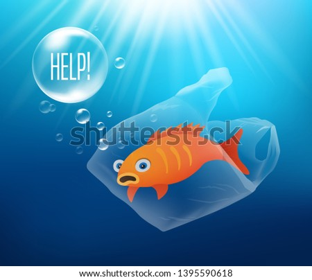 Plastic Sea Pollution - Stop Using Plastic! Can ilustrate ecology topics about oceans and how fish and sea creatures are endangered by plastic pollution.