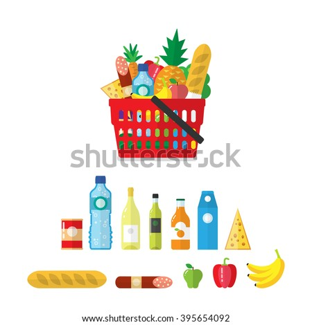 Plastic shopping basket full of grocery products. Shopping groceries. Food and drink. Vector flat style icons. Isolated on white. Pineapple, apple,broccoli, mineral water, wine, salami, baguette.