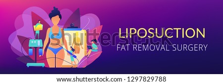 Plastic surgeon with a suction tube doing liposuction of woman marked body parts. Liposuction, lipo procedure, fat removal surgery concept. Header or footer banner template with copy space.