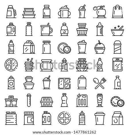 Plastic tableware icons set. Outline set of plastic tableware vector icons for web design isolated on white background