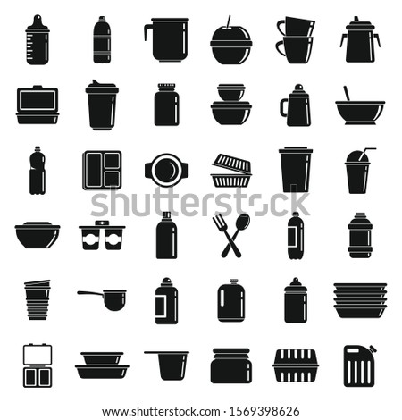 Plastic tableware icons set. Simple set of plastic tableware vector icons for web design on white background