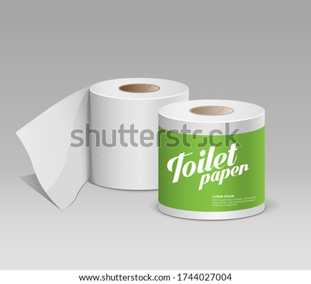 Plastic toilet paper roll green package, template design collection background, vector illustration