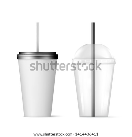Plastic transparent disposable cup with black straw for cocktail and disposable container with black lid for ice drink. Vector illustration isolated on white background