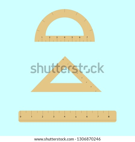 Plastic transparent ruler, triangle ruler and protractor ruler