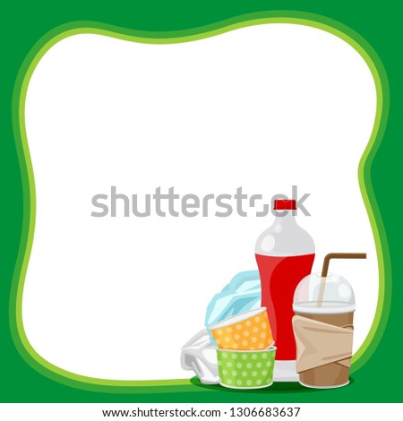 plastic waste dump on template banner green frame and white background copy space, plastic bottle garbage waste on banner blank, frame of plastic waste glass garbage, illustration ad empty for message