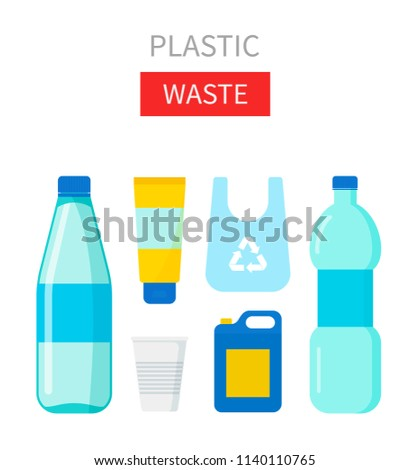 Plastic waste vector illustration. Home stuff - water bottle, cup, tube, package, canister. Recycling ecology problem isolate on white background objects collection.