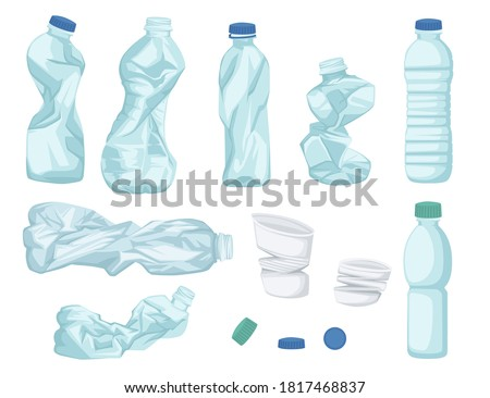 Plastic water bottle waste set of different bottle garbage transparent plastic flat vector illustration isolated on white background Сток-фото ©
