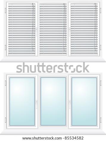 plastic window with jalousies vector illustration