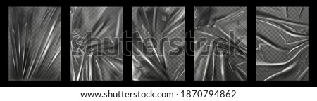 Plastic wrap. Crumpled and stretched polyethylene film for packages. Transparent fold texture of cellophane bag. Wrinkled wraps vector set. A4 size stretch film with crumpled effect Stock photo ©
