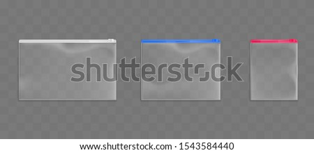 Plastic zip bags set, empty pouches of white, red and blue zipper color isolated on transparent background. Waterproof dispasable blank packages mock up. Realistic 3d vector illustration, clip art Foto stock ©