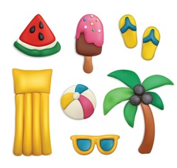 Plasticine modeling clay sea beach summer vacation objects realistic set with palm flip flops isolated vector illustration