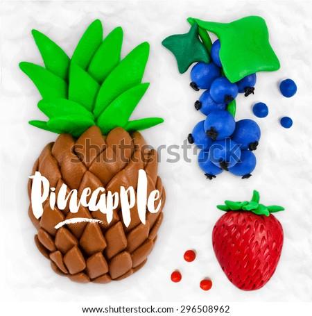 plasticine modeling fruits